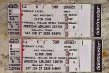 Elton John 6/27/20 (1 PAIR Tickets) American Airlines Center Dallas, TX AISLE