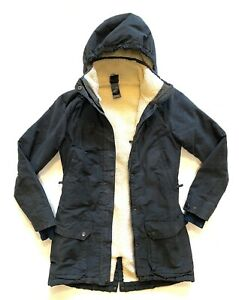 Ladies THE NORTH FACE Navy Grey Fleece Lined Parka/Coat Size S fit 8/10 Great!