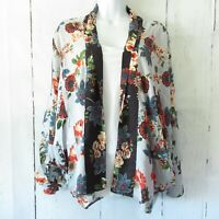 New Angie Kimono Jacket L Large Blue Asian Floral Open Front Boho Peasant