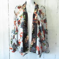 New Angie Kimono Jacket S Small Blue Asian Floral Open Front Boho Peasant