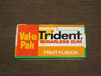 "VINTAGE 3 1/8"" X 1 5/8"" TRIDENT SUGARLESS GUM FRUIT FLAVOR TIN *EMPTY*"