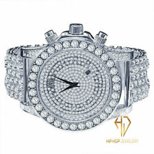 Men's White Gold Simulated Diamonds Solitaire Bling Master Custom Watch W /Date