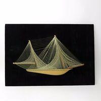 "Mid Century Vintage NAUTICAL String ART Wooden Sailboat Ship 32""x22"""