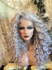FOXY! Silver Gray Spiral Curls, LONG, Lace Front, Wig, Parts On Either Side!