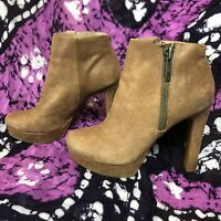 Gianni Bini Tan Leather Platform Heels Ankle Booties Size 10M