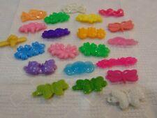 Vintage Lot of 21 Single Assorted Color Plastic Girls kids Barrettes