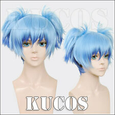 Assassination Classroom Shiota Nagisa Wig Short Ice Blue Cosplay Wigs 2 clips
