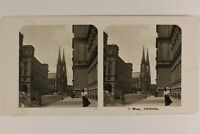 Autriche Vienna Animato Chiesa Votivkirche c1905 Foto Stereo Vintage Analogica