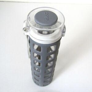 Ello QUIET YOGA GLASS WATER BOTTLE Gray Silicone Grip Sports Flip Lid 20 oz