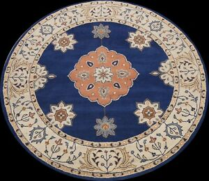 Geometric Traditional Oriental Area Rug Hand-Tufted Blue Wool Carpet 8x8 ROUND
