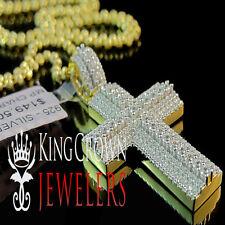 Mens Ladies Yellow Gold Sterling Silver Simu Diamond Jesus Cross Pendant + Chain