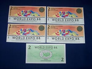 Lot of 5 Notes from Australia World Expo 88 $2 Uncirculated
