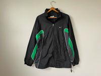 Vintage 90s NIKE Swoosh Logo Two Tone Full ZIP Windbreaker Jacket Black Green L