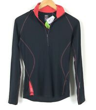 NWT Icebreaker 200 GT Pace Base Layer Women M medium black LS 1/4 zip shirt $100