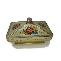 Vintage Baret Ware Metal Tin Floral Pedestal Lidded England 192