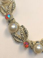 Vintage 1950S Gold Leaf Necklace Hook Clasp Pearl orange Aurora Borealis Crystal