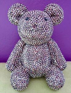 Crystal Rhinestone 8″ Teddy Bear Pop Art Sculpture Large Bling Figure Bank New!