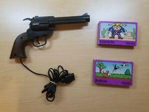 NINTENDO Famicom Zapper Light Gun with 2 Comeplete in Box CIB Game US Seller