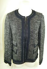 Talbots Petites Full Zip Long Sleeve Navy Sweater Women's 12P NWT Cotton Blend G