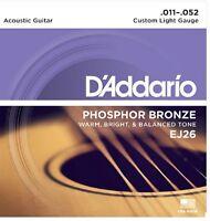 D'Addario EJ26 Phosphor Bronze Acoustic Guitar Strings 11-52 Custom Light