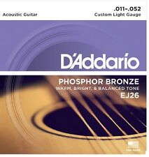 D'Addario EJ26 Phosphor Bronze Acoustic Guitar Strings 11-52 Custom Light