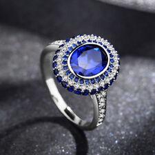 Anillo Plateado Oval ZIRCONITA Zafiro Azul Chapado De Oro Matrimonio T56 G7 25