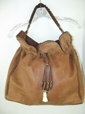 Isabella Fiore Audra Tassel Charms Whipstitch Studded Handbag Tote Shoulder Bag