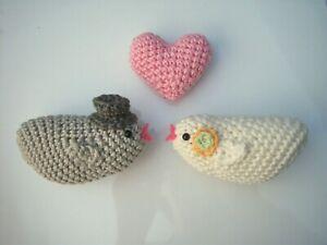 Love Birds & Heart Crochet Wedding Cake Topper Bride Groom Knitted Boho