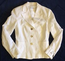 CALVIN KLEIN Womens 2 Blazer White 3 Button Linen Blend New wTags MSRP $129 NWT