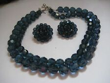 2 Strand MADE IN AUSTRIA Indian Sapphire Swarovski Crystal Necklace Earrings