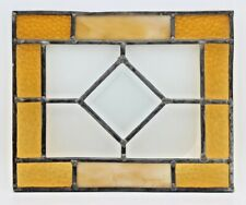 """Vintage Stained Glass Window Pre 1970 11"""" x 9"""" Amber, Clear & Streak Glass"""