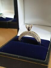 White gold finish solitaire created diamond elegant ring size R gift boxed