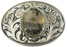 Vtg Cabochon Belt Buckle Inlay Engraved Amber Western Agate Stone Brass Cowboy