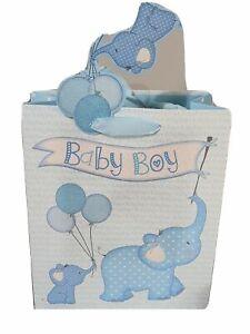 Gift Bags Medium Baby Boy Glitter Elephant 21.5 x 25cm