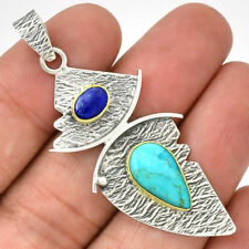 Lapis Lazuli & Sleeping Beauty Turquoise Arizona 925 Sterling Silver Pendant