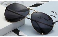 Black & Gold Oversized Aviator Sunglasses Flat Top Big Large Luxury Mirrored NEW