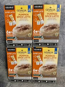 GEVALIA Pumpkin Spice Latte, Espresso K-CUP Pods and Latte Froth Packets, 4pk