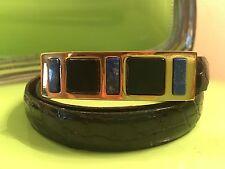 Vintage KLEINBERG SHERRILL American Alligator Black Leather Gold Buckle Belt