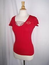 Harley Davidson Motorcycles Women's Red Rose Heart Flames Shirt Top L Large