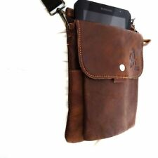 Leather real small bag wallet Pocket Waist Pouch phone camera retro brown luxury