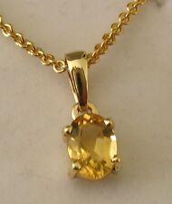 8x6mm GENUINE  9K  9ct  SOLID  Gold  NOVEMBER  BIRTHSTONE  CITRINE  Pendant