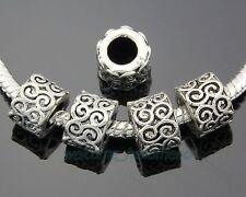 30pcs Tibetan Silver Flower Charm Perles Gros Trou Fit Bracelet ZY118