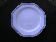 Christopher Stuart Southwest Blue Yellow Turquoise Coral Rim White Salad Plate
