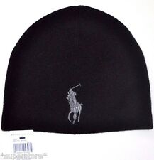 NEW RALPH LAUREN POLO MEN WINTER MERINO WOOL HAT BEANIE SKI BIG PONY BLACK