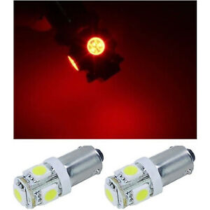 (2) Red 5-LED Map Dash Panel Cluster Gauge Clock Glove Box Light Bulbs #293 Pair
