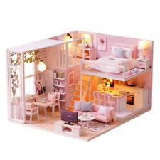 DIY LED Miniature Dollhouse Kit Réaliste 3D Rose Bois Maison Chambre Jouet A2X4