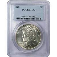 1928 Peace Dollar MS 63 PCGS 90% Silver $1 US Coin Collectible