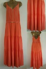 NEW Oasis Coral Orange Tiered Belted Maxi Summer Party Maxi Long Dress UK 12