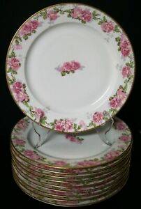 10 GOLD ENCRUSTED PL REDON LIMOGES CABBAGE PINK ROSES DINNER PLATES - BEAUTIFUL!