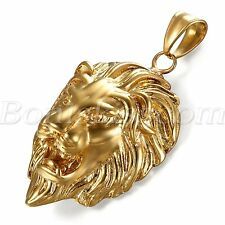 """Men's Biker Gold Tone Stainless Steel Lion Head Pendant Necklace Chain 22"""" Gift"""